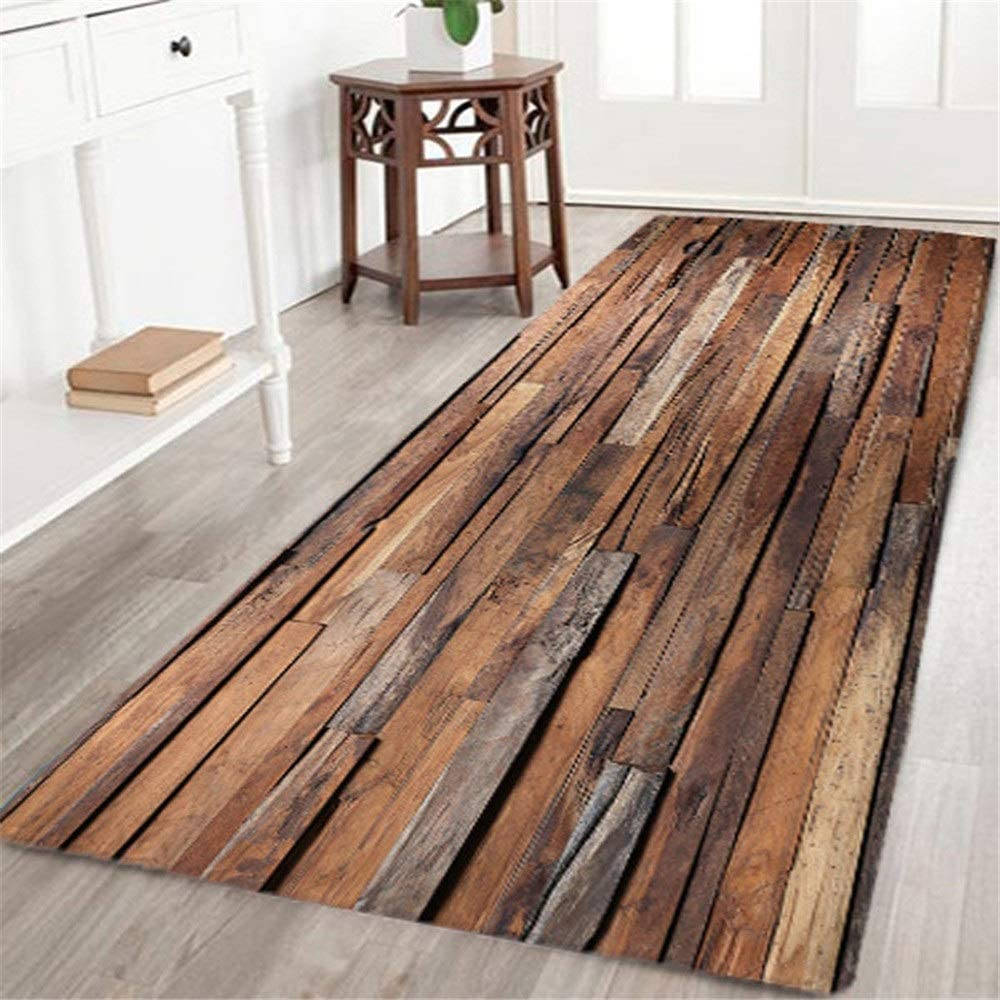 Bath mats and Rugs Wooden 3D Colorful, mats Bathroom with Rubber mats Prevent Slipping of Flannel Fabric 60x180 cm (Color : G, Size : 60x180cm)