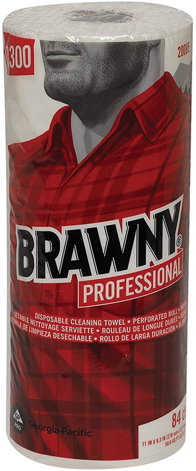 Brawny 20085 Perforated Wipes, 11-Inch x8-5/16-Inch, 84 Shts/Roll, 20/CT, White