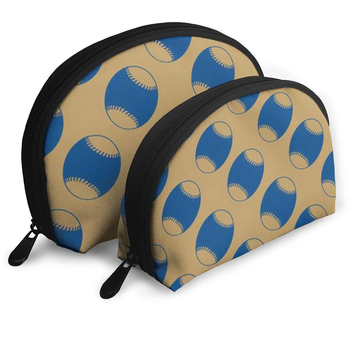 Half Moon Cosmetic Beauty Bag,Baseball Handy Cosmetic Pouch Clutch Makeup Bag For Women Girls