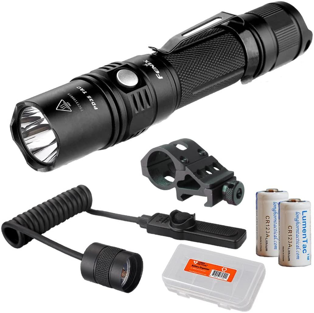 Lumen Tactical Tactical Weapon Light Bundle: Fenix PD35TAC (PD35 Tactical) XP-L 1000 Flashlight, AER-02 Pressure Switch, Offset Mount, 2X CR123a Batteries, LumenTac Battery Organizer