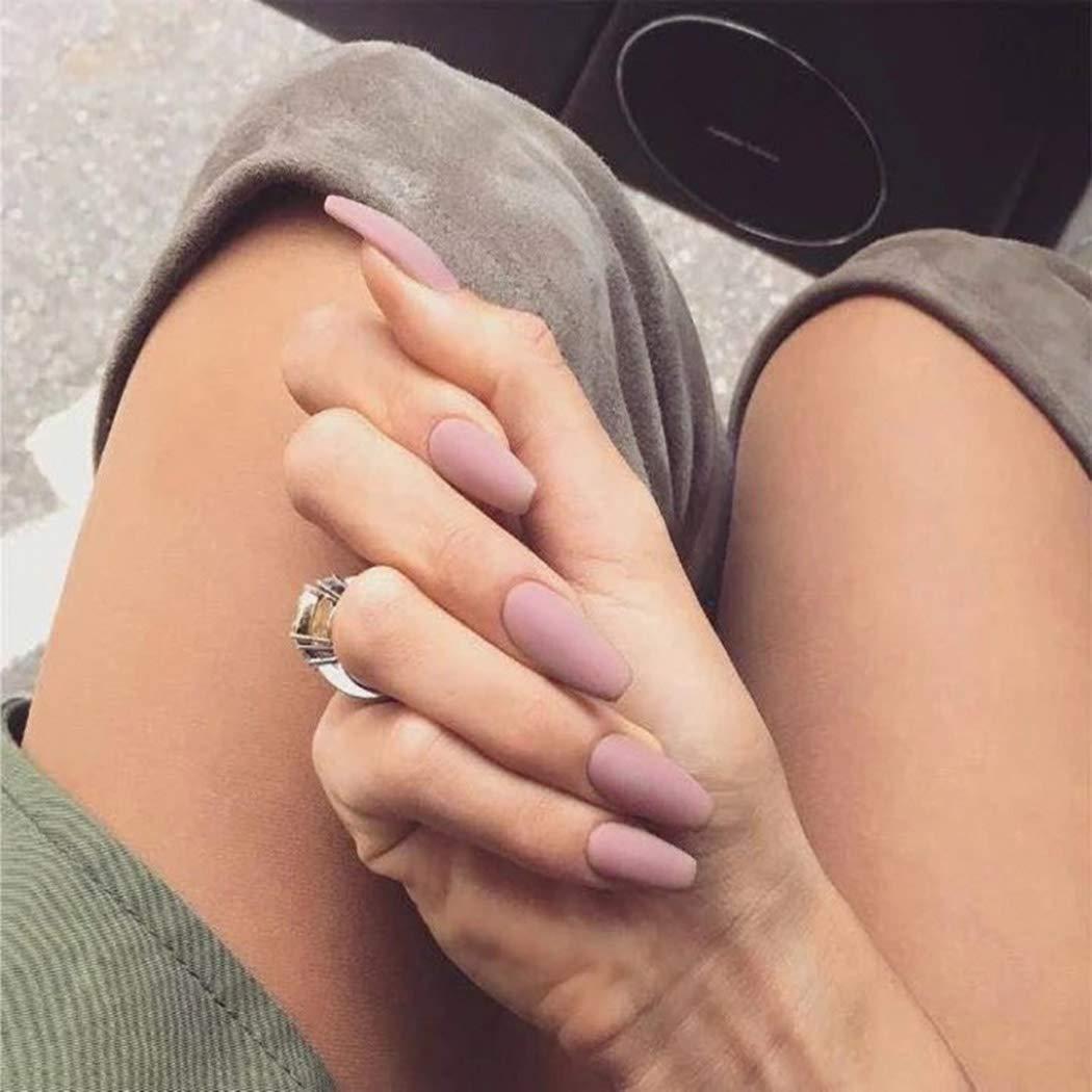 Haloty Ballerina Press on Nails Pink Long Coffin Fake Nails Matte False Nails for Women and Girls(24PCS)