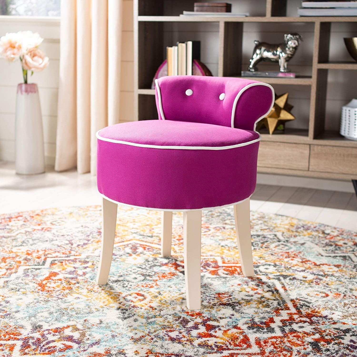 Fuchsia Vanity Stool Purple Solid French Country Shab Chic Cotton Upholstered Wood