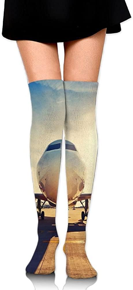 LINGMEI Women's Unisex Tube Stockings Airport-runway-and-plane Over The Knee Unisex Knee High Long Socks 65cm