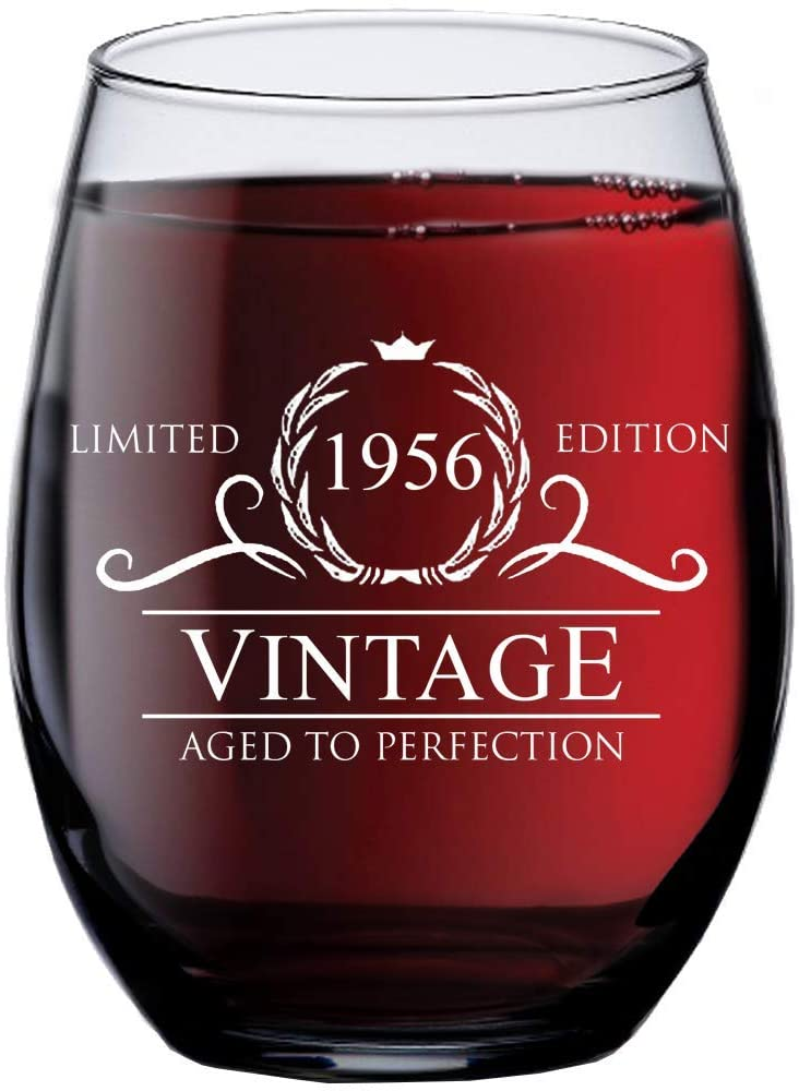 1956 64th Birthday Gifts for Women Men - 15 oz Stemless Wine Glass - 64 Year Old Gift Present Ideas for Mom Dad - Funny Vintage Unique Personalized - Party Anniversary Reunion Decorations Supplies