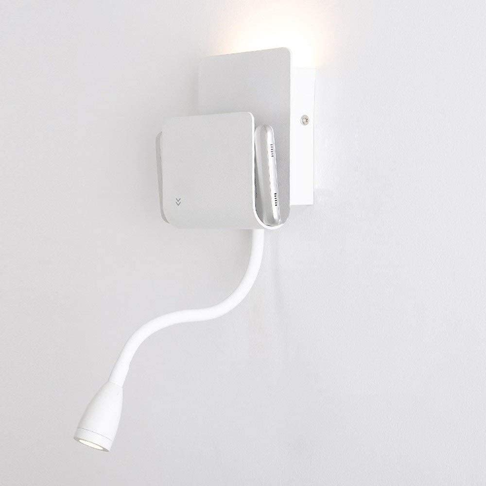 DLGGO Nordic Modern Removable Bathroom Wall Light 6W+3W LED with Two Pressure Sensor Switch Adjustable Light Direction Wall Sconce Two-Light Reading Light Hotels Hallway Living Room Wall Lamp (White)