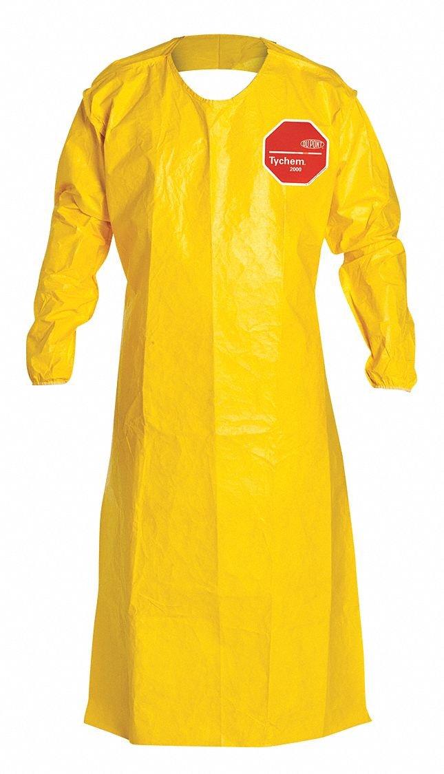 Dupont QC278BYL00001200 QC Sleeved Aprons, Elastic Wrists, 52 Long, Yellow (Pack of 12)