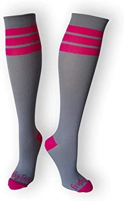 Frisky Feet Classic Athletic Compression Socks Striped 20-30 mmHg Socks Nurses Runners Travel Reduce Swelling