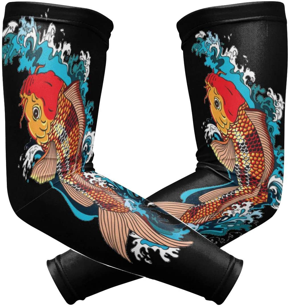 Sports Compression Arm Sleeve Guard 2 Pieces Koi Carp Goldfish Swimming for Night Tendonitis Pain Relief of Cubital Tunnel Syndrom, Front Pull