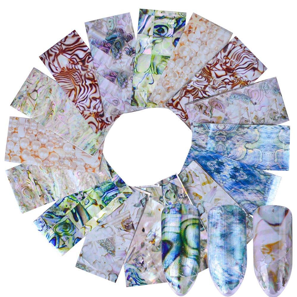 16 pcs Nail Transfer Sticker Gradient Marble Nail Foils Glue Adhesive DIY Stencils Nails Tips Nail