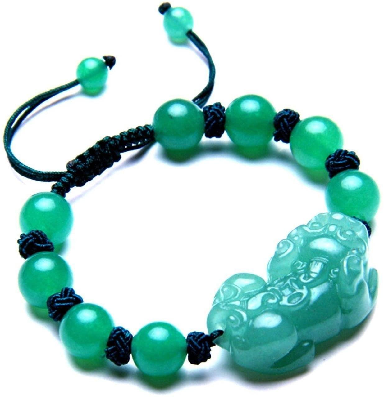 Feng Shui Handmade Green Aventurin Beads with Pi Yao/Pi Xiu Bracelet for Wealth