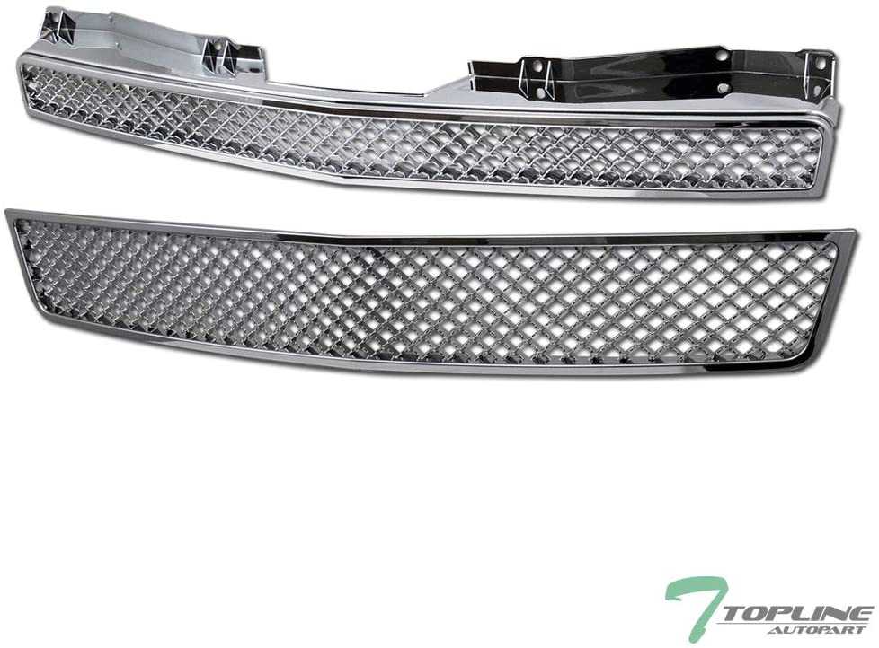 Topline Autopart Chrome Mesh Front Hood Bumper Grill Grille ABS 2 Pieces Design For 07-13 Chevy Avalanche / 07-14 Tahoe/Suburban