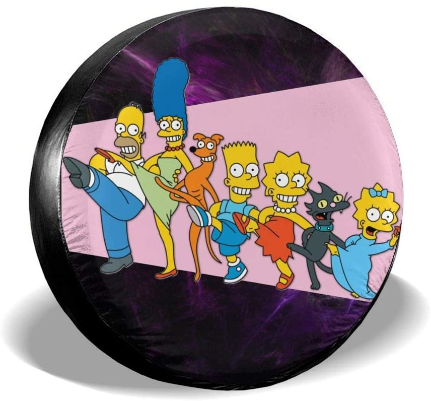 N/C The Simpsons Nspare Tire Cover Universal Spare Wheel Tire Covers for Jeep, Rv, SUV, Trailer, Truck