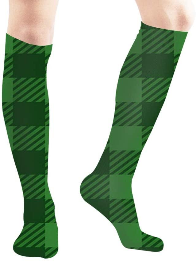 Buffalo Plaid Lumberjack Gingham Abstract Men and Women Compression Knee Socks High Fitness Novelty Stockings 50Cm Stylish Design