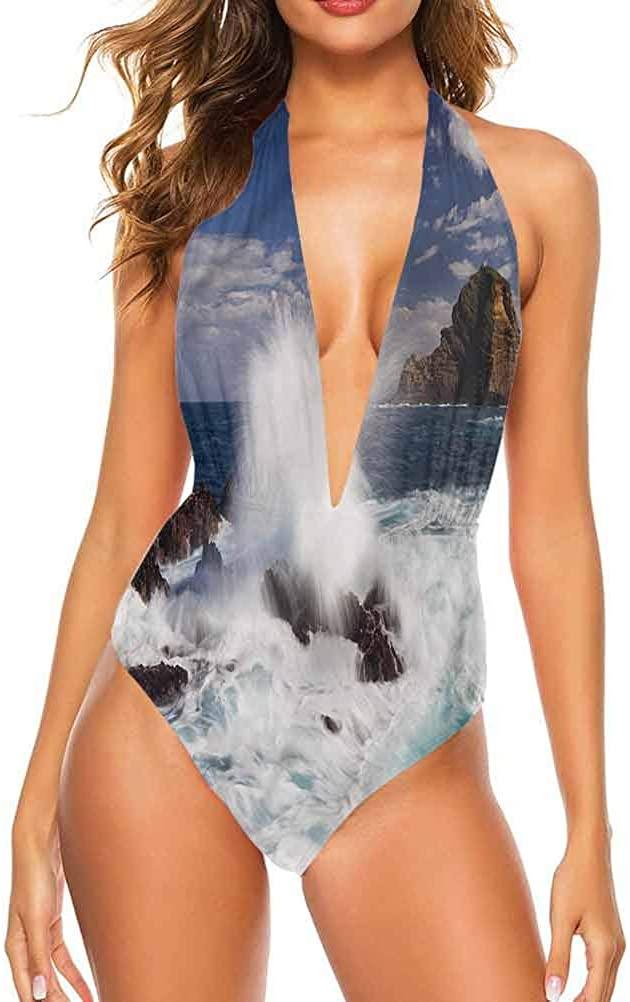 Bikini Swimsuit Set Coastal, Giant Waves Splashes Rocks Unique, and Comfortable