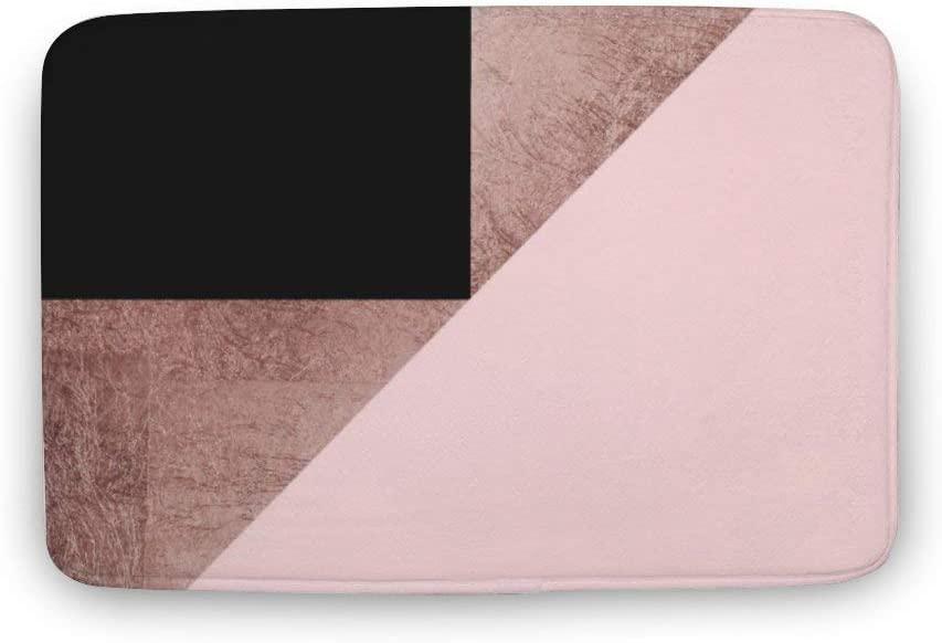 Rose Gold Black Blush Pink Geometric Luxury Coral Velvet Bathroom Rug Mat, Machine Wash Dry, Perfect Carpet Mats for Tub, Shower, and Bath Room Home Decor 20