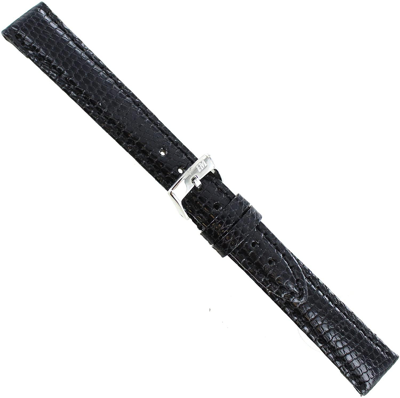 14mm Milano Genuine Lizard Padded Stitched Black Ladies Watch Band Short 718