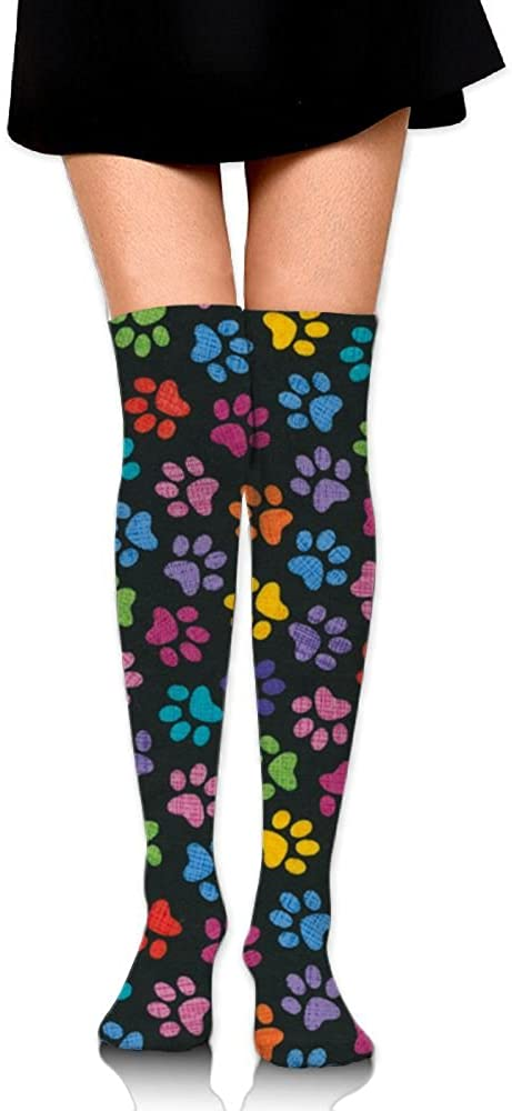 HTSS Women's Tube Stockings Rainbow Dog Paw Print Hott Over The Knee Unisex Knee High Long Socks