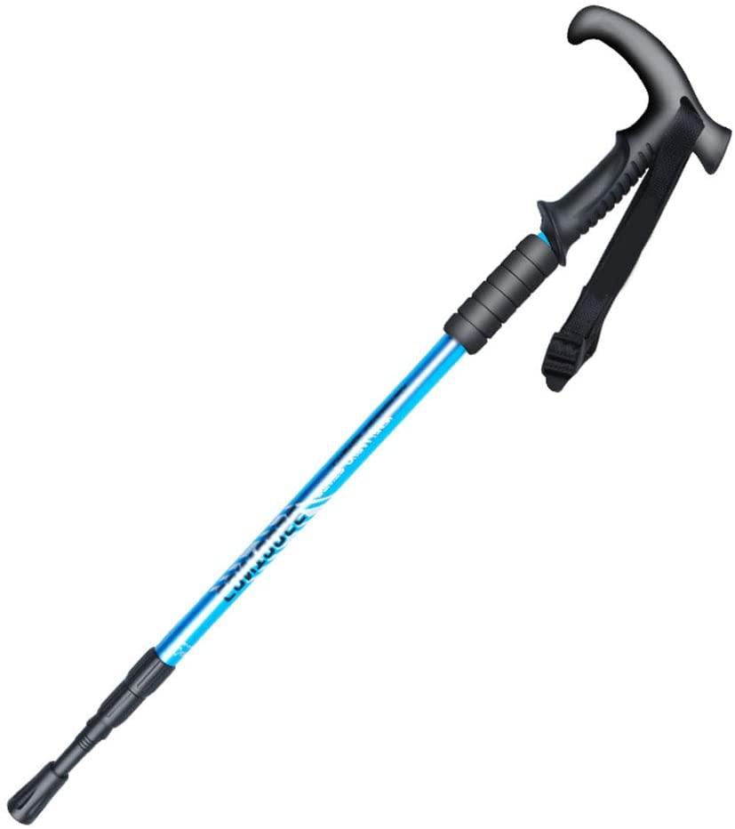 FANLI T Handle Trekking Pole, Anti Shock Wrist Straps Telescopic Hiking Adjustable Aluminum Not-Skid Adjust Alloy Ski Climbing-Blue 55-110cm(21-43in)