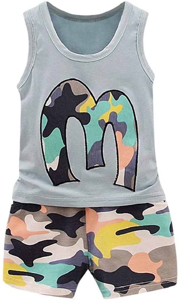 terbklf 2Pcs Toddler Baby Girls Boys Summer Cool Camouflage Vest Tops T Shirt Shorts Outfits Set Casual Wear Beach Wear