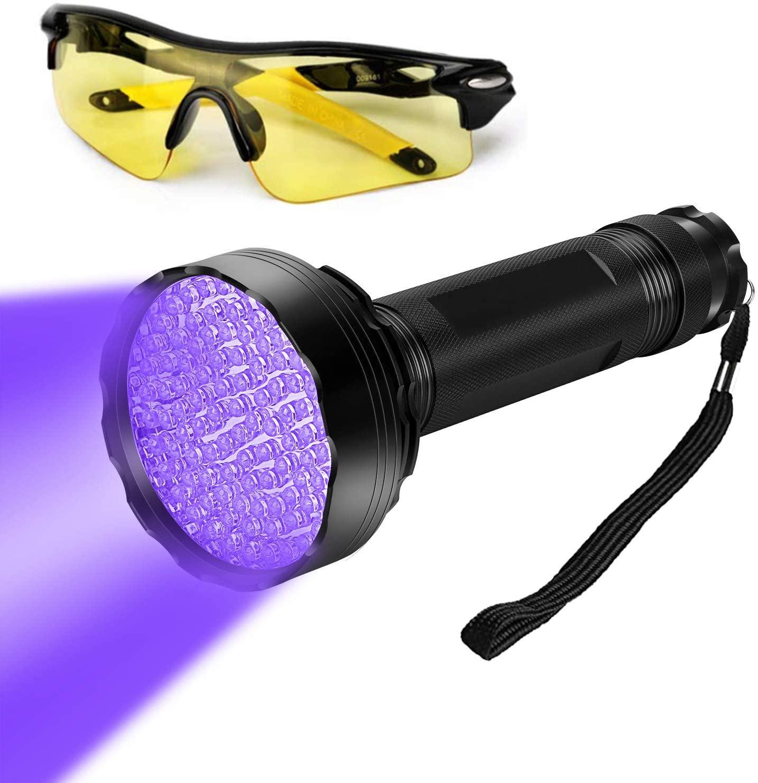 WJZXTEK Black Light with UV Glasses Super Bright 100 LED Best #1 Powerful UV Light Flashlight 395NM Ultraviolet Urine Detector Flashlight for Home & Hotel Inspection, Pet Urine & Stain Detection