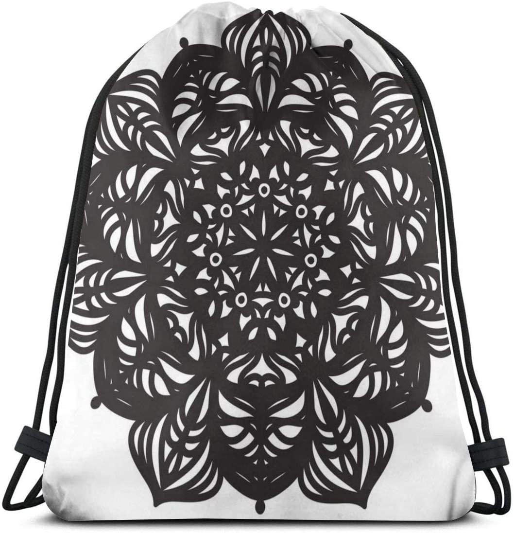 Backpack Drawstring Bags Cinch Sack String Bag Mandala Design Pattern Sackpack For Beach Sport Gym Travel Yoga Camping Shopping School Hiking Men Women
