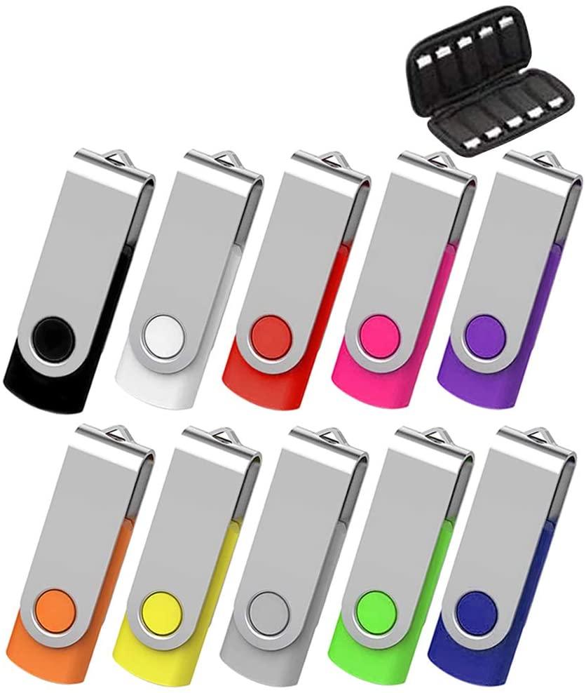 ARETOP 32GB Flash Drive 10 Pack, USB Flash Stick with Easy-Storage Bag Pen Drive Gig Stick Memory Stick USB2.0 Pendrive 32GB Thumb Drives for Fold Date Storage (10 PCS - 10 Mix-Colors)