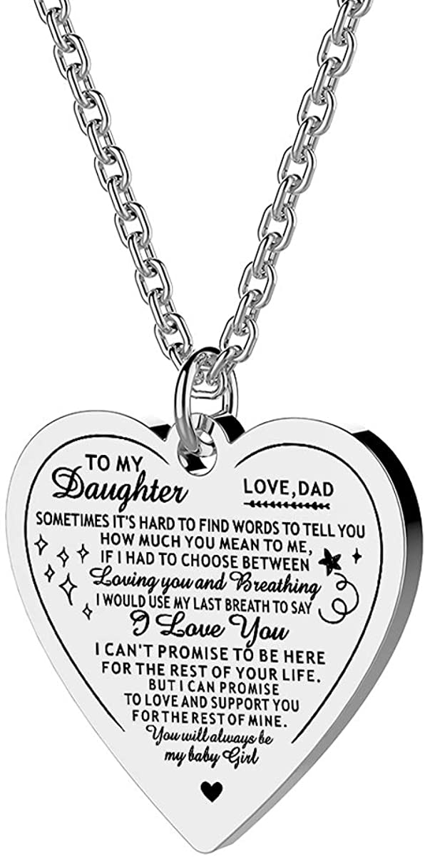 To My Daughter Necklace from Dad Mom Inspirational Gift Never Forget That I Love You Forever Birthday Gift Graduation Gifts