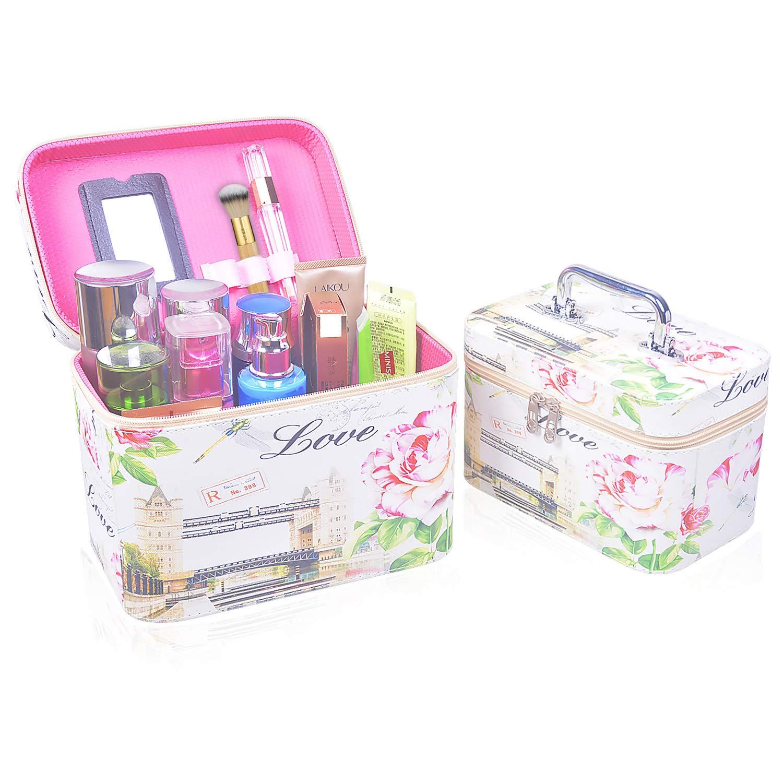 Larcenciel 2 PCS Cosmetic Train Case Set Print Makeup Bag Organize Storage, Portable Large Capacity Zipper Toiletry Bag with Mirror Desktop Organizer for Women