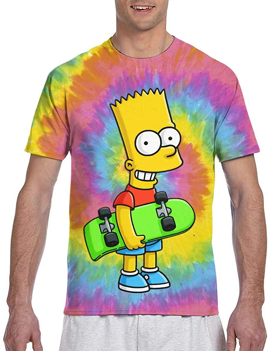 Mens Women The Simpsons Tie Dye Fashion Hip-Hop T-Shirts Short Sleeve Pullover Regular Fit Casual Tee Youth & Adult