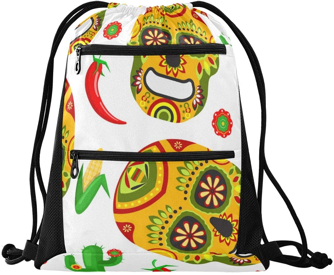 Halloween Drawstring Backpack Sport Gym Sackpack - Dead Day Dia Muertos Halloween Mexican Skull Sport Cinch Pack Sport Backpack for School Swimming
