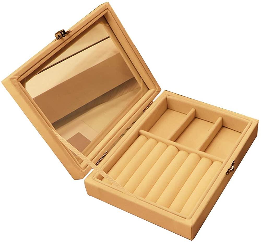 Luyy Velvet Glass Top Jewelry Box Organizer, Display Storage Free Tote Bag