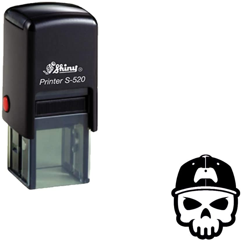 Skull Print Shiny 20MM Self Inking Rubber Stamp Clear Print for Commercial Use