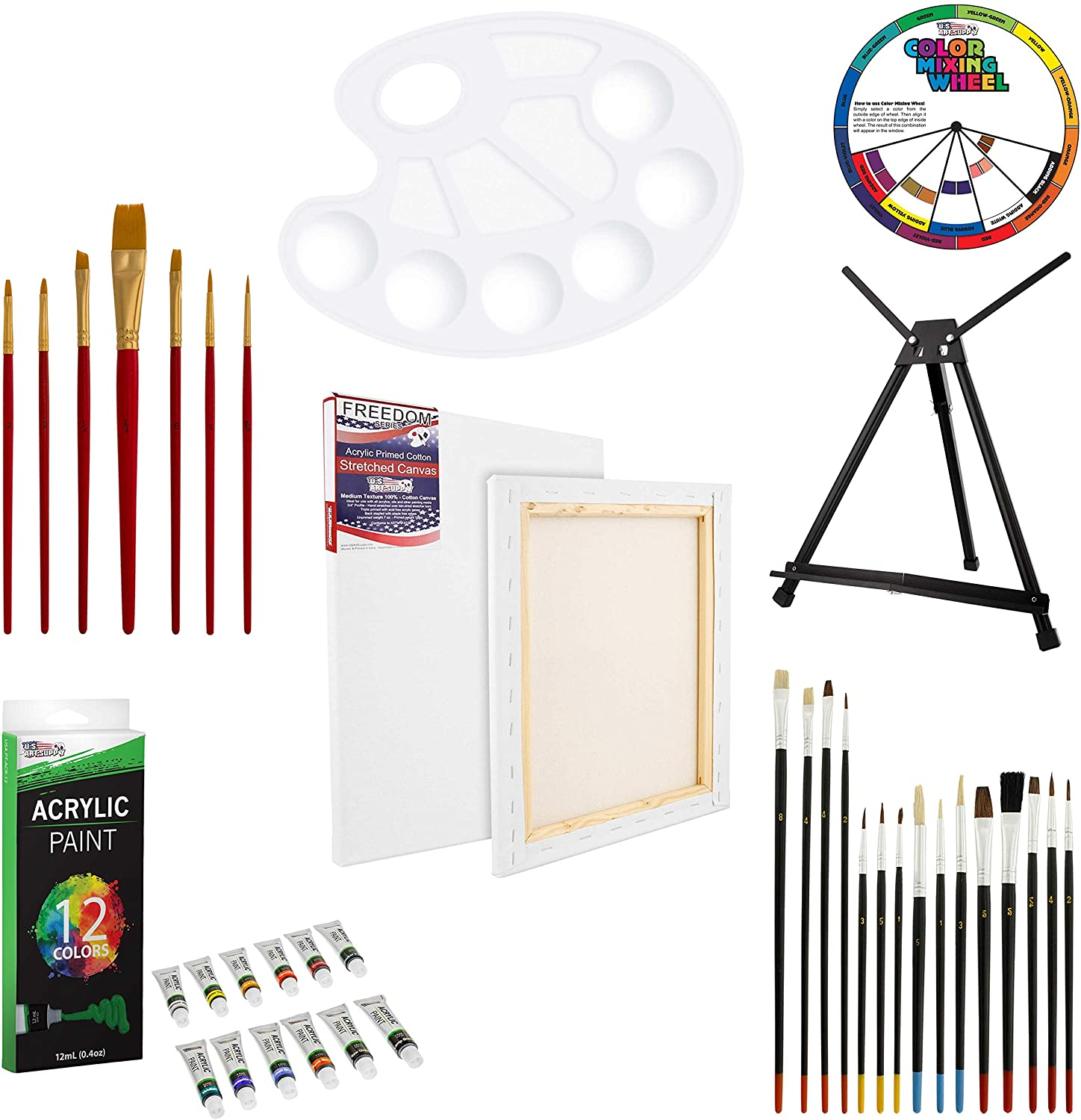U.S. Art Supply 39-Piece Acrylic Artist Painting Set - Aluminum Table Easel, 12 Acrylic Colors, Stretched Canvas, Paint Brushes & Plastic Palette