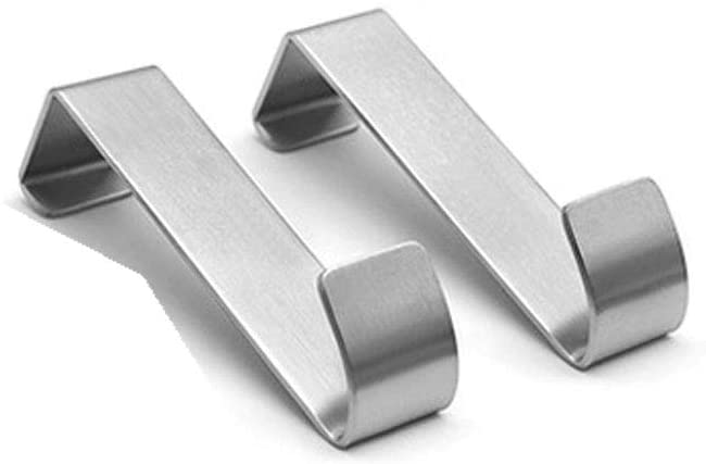 Over The Cabinet Door Hook, 2-Pack, Brushed Stainless Steel