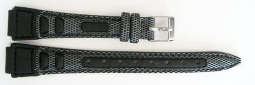 12mm Black Gray Nylon Leather Waterproof Sport Tech Tapered Watch Band Strap