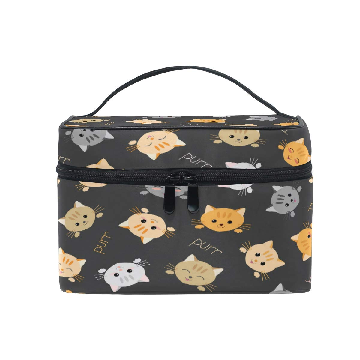 JOKEER Makeup Bag, Cute Animal Cat Portable Travel Case Large Print Cosmetic Bag Organizer Compartments for Girls Women Lady