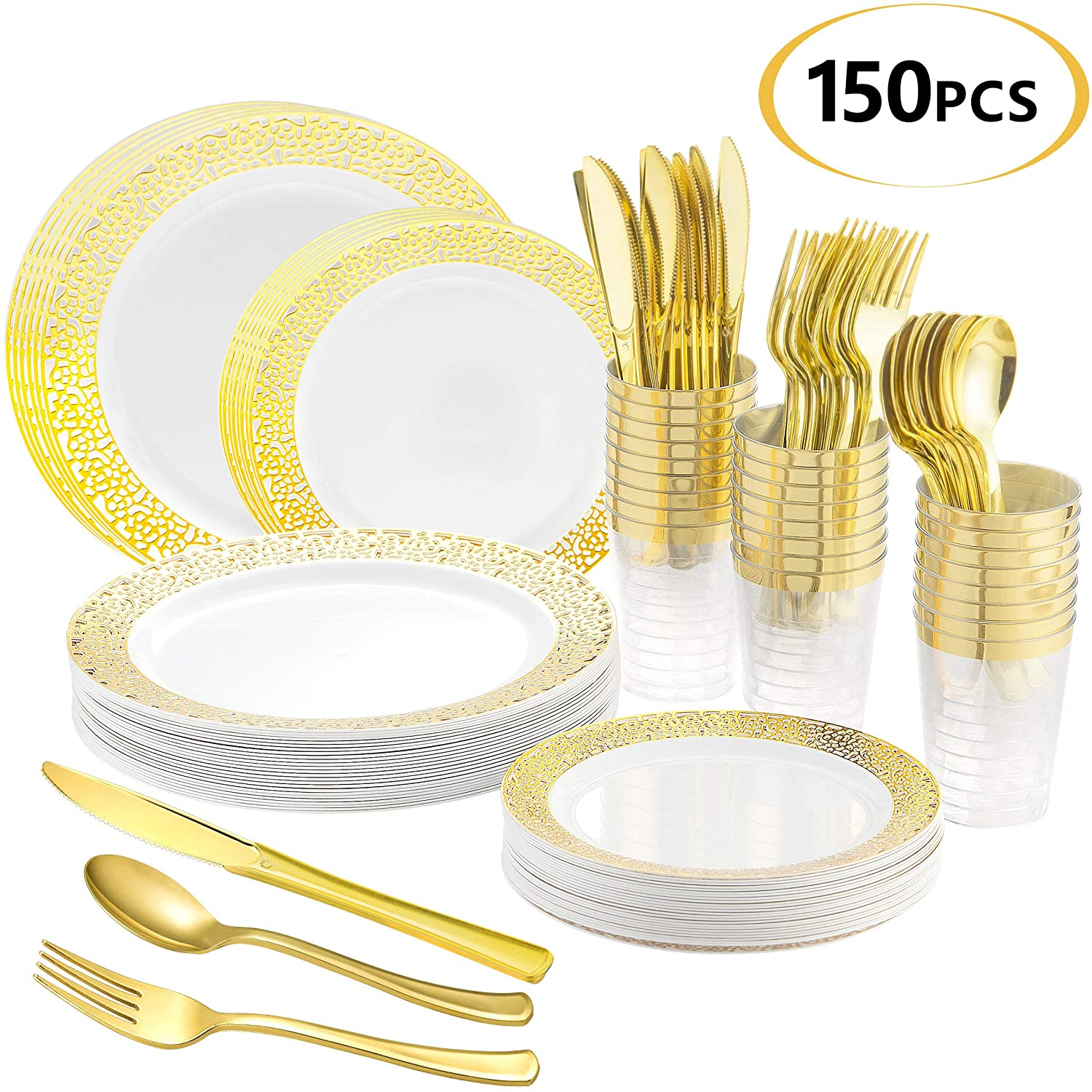 JENYA Golden Disposable Plastic Tableware Set - Party 25 Pieces Tableware Wedding Dining Elegant Cup Plate Mini Knife Fork Spoon Selection