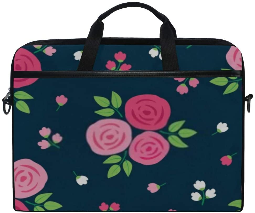 Laptop Bag Simple Floral Seamless Pattern Hand Drawn 15-15.4 Inch Laptop Case Sleeve, Briefcase Messenger Shoulder Bag for Men Women, College Students Business People Office Workers