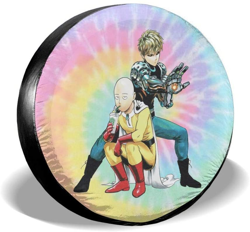 N/N One Punch Man Nspare Tire Cover Universal Spare Wheel Tire Covers for Jeep, Rv, SUV, Trailer, Truck