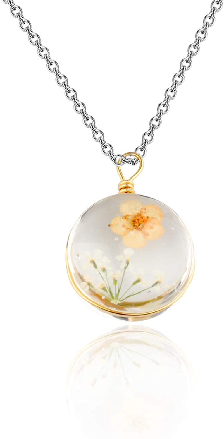 BAUNA Dried Flower Necklace Processed Real Flower Pendant Necklace for Mori Girls