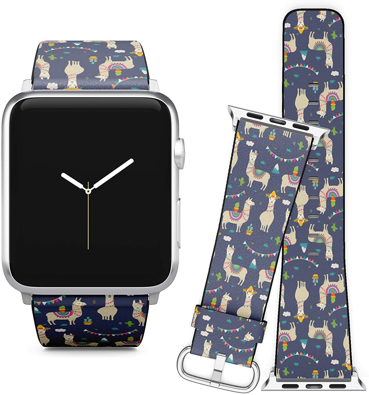 Compatible with Apple Watch (38/40 mm) Series 5, 4, 3, 2, 1 // Leather Replacement Bracelet Strap Wristband + Adapters // Cute Cartoon Llama Alpaca