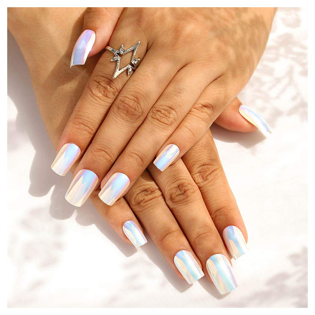 Fstrend 24Pcs Glossy Fake Nails Metal White Punk False Nails Coffin Long Full Cover Acrylic Punk Press on Nails for Women and Girls