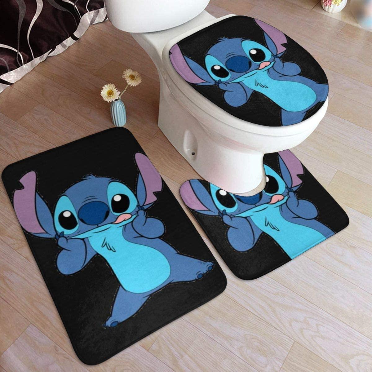 Bathroom Rug Set 3 Piece, Stylish Naughty Stitch Print, Non Slip Bath Mat + U-Shaped Contour Rug + Toilet Lid Cover