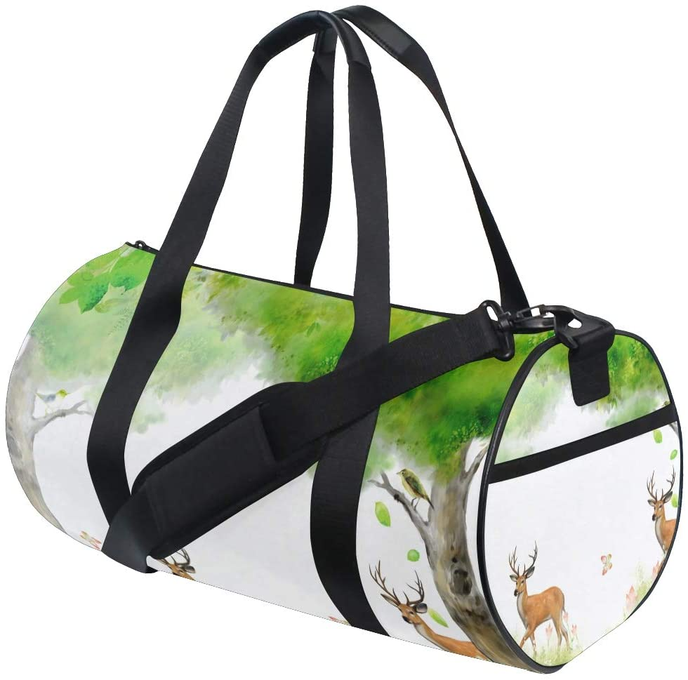 Brighter Deer In Forest Fitness Sports Bags Gym Bag Travel Duffel Bag for Mens and Womens