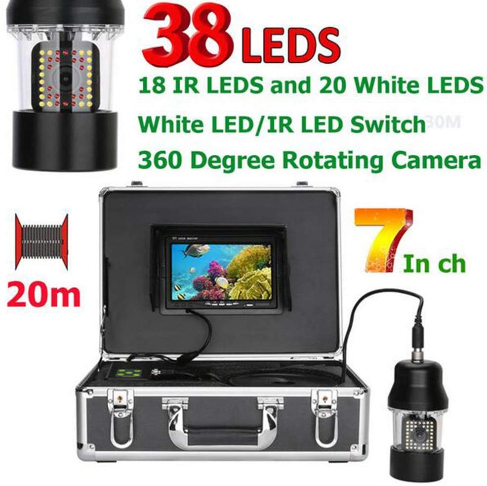 MIDIAOYU 7 Inch 50m 100m Underwater Fishing Video Camera Fish Finder IP68 Waterproof 38 LEDs 360 Degree Rotating Camera