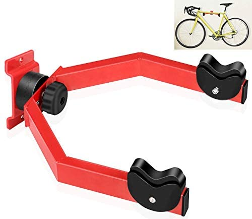 Hasit Wall Mount Bike Hanger Rack Horizontal Bike Holder Hook for Garage/Indoor Storage Adjustable Angle to Keep Bike Level Red