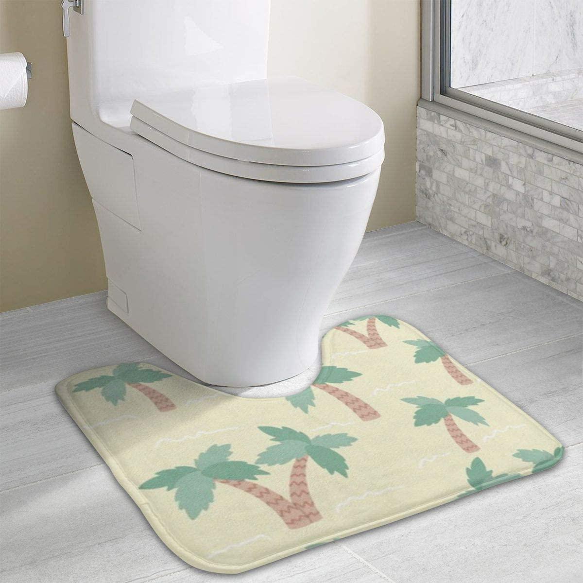 Bathroom Rug, Palm Tree U-Shaped Non Slip Absorbent Toilet Bath Floor Contour Doormat Shower Mat Carpet 19.3 X 15.7 Inch