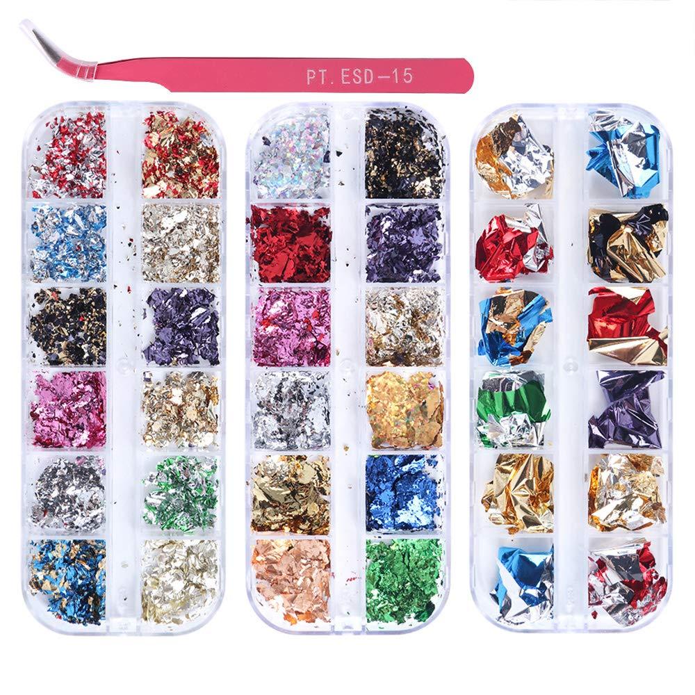KISSBUTY 3 Boxes Foil Nail Chip Glitter Nail Foil Paillette Nail Foil Flakes for Nail Art Design Decoration Colorful Foils Manicure with 1 Pc Tweezer (36 Colors Nail Foil Chip)