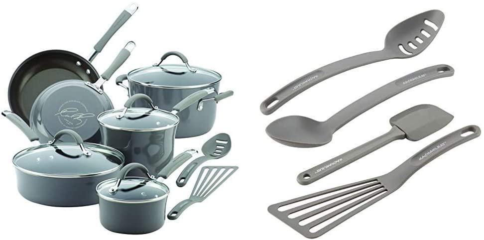 Rachael Ray Cucina Nonstick Cookware Pots and Pans Set, 12 Piece, Sea Salt Gray & Cucina Nylon Nonstick Tools Set, 4-Piece, Sea Salt Gray