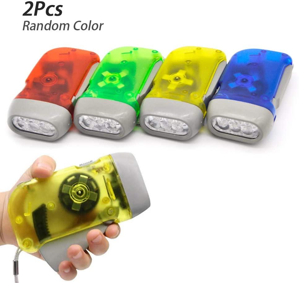 Meanhoo Hand Crank Flashlight- No Battery- Wind Up Car Kid Flashlights Shake Led Light Lantern